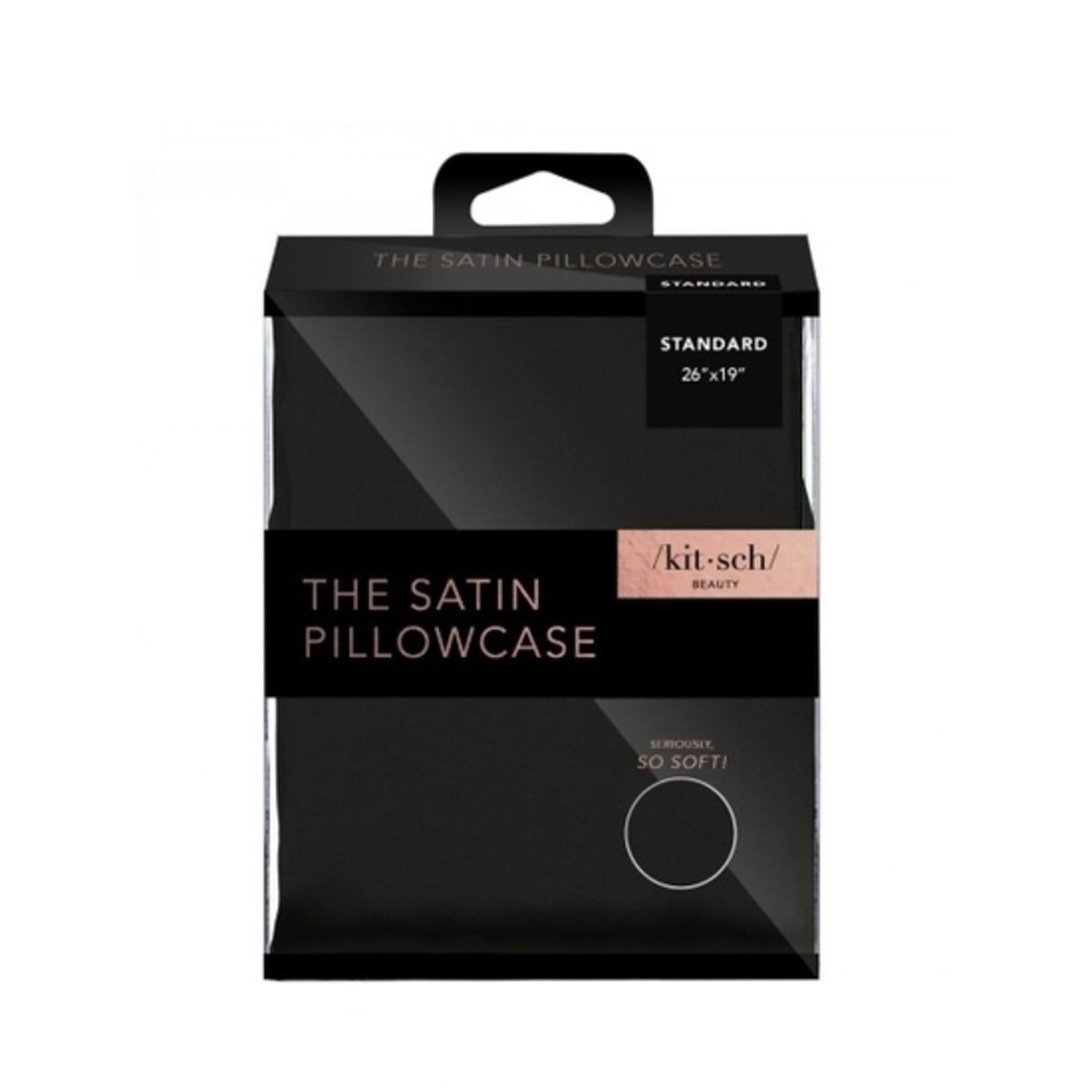 Kitsch Black Satin Pillowcase