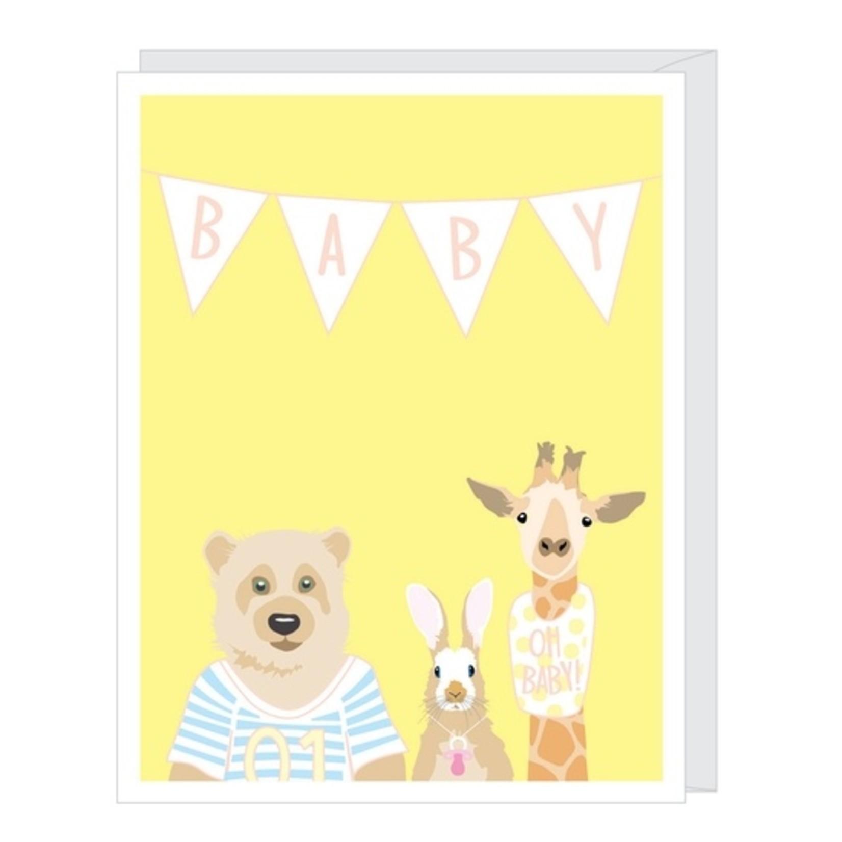 Baby Card:  Bear Bunny Giraffe