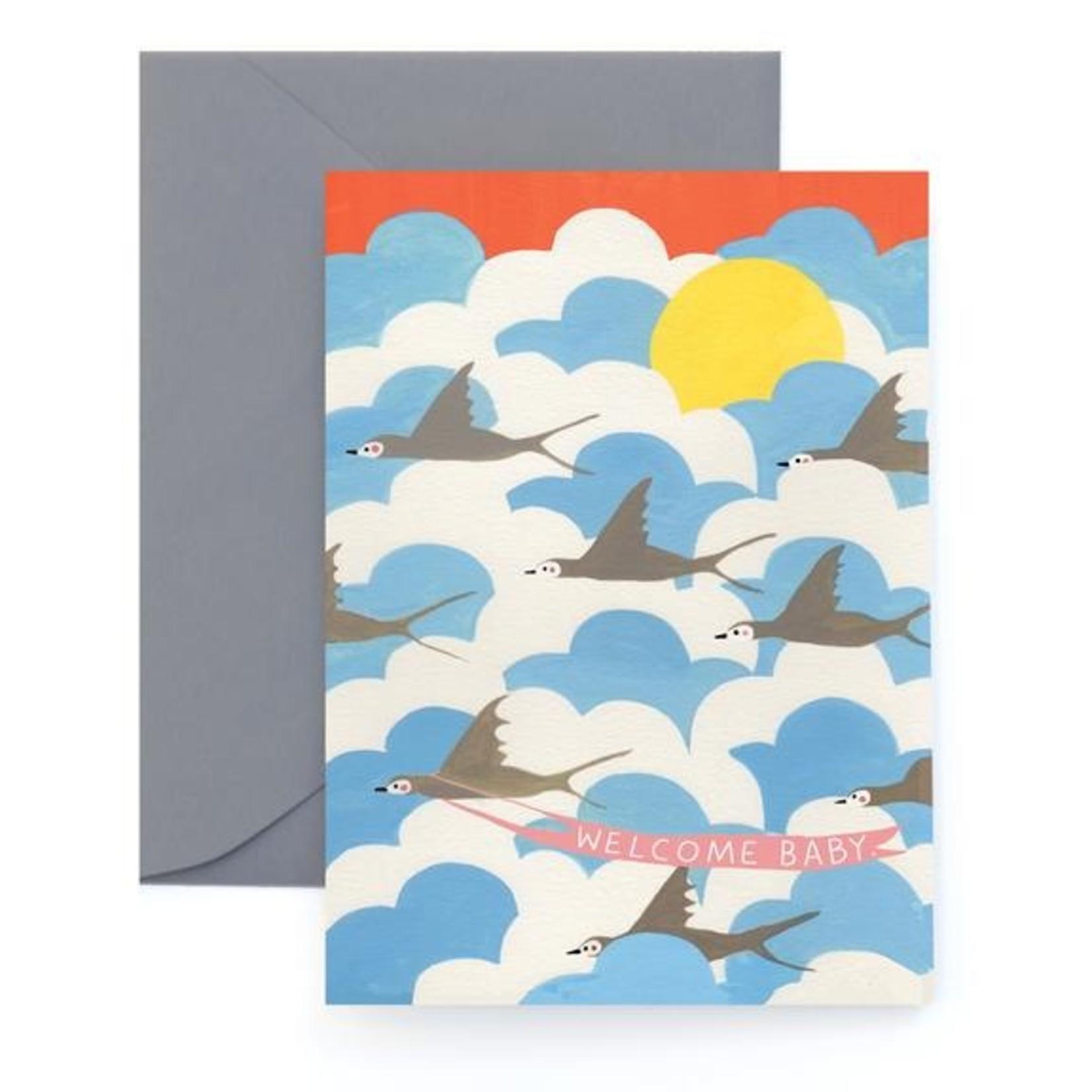 Baby Card:  Welcome Baby - Bird Flock