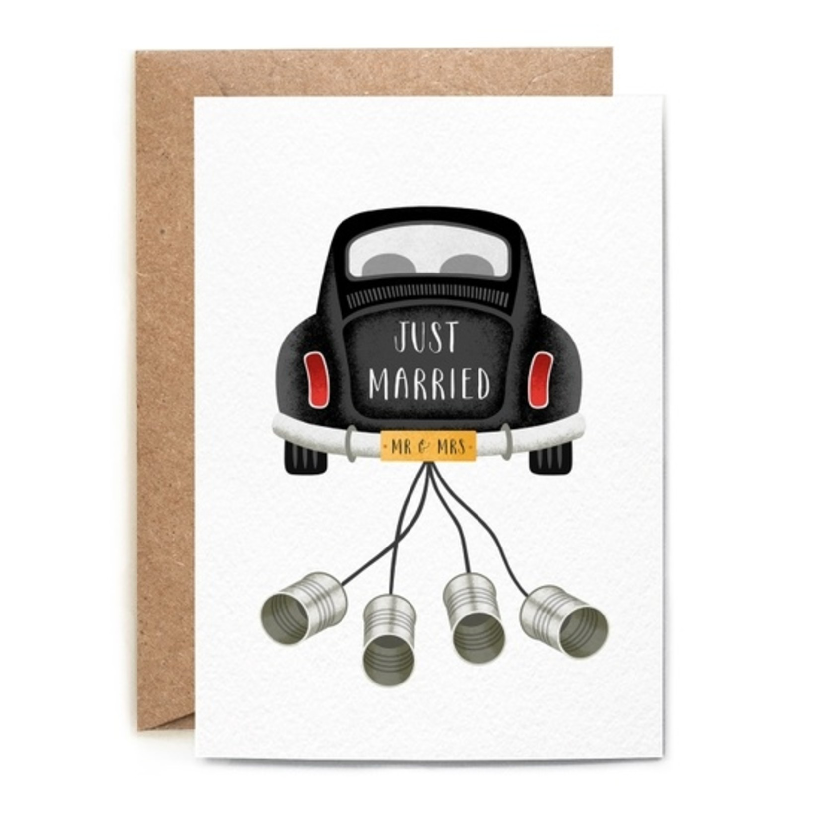 Wedding Card: Just Married Tin Cans