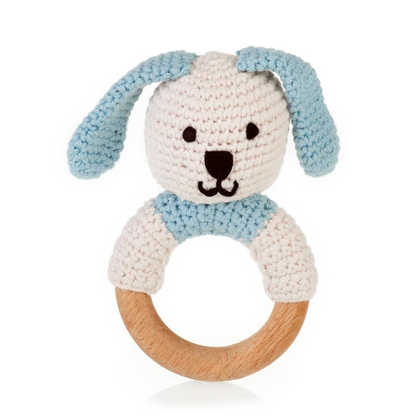 Wooden Teething Ring Bunny in Blue