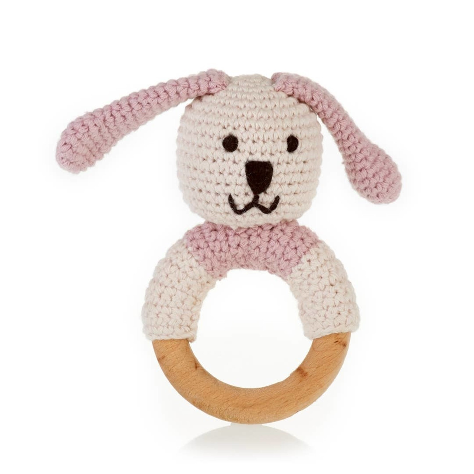 Wooden Teething Ring Bunny in Pink