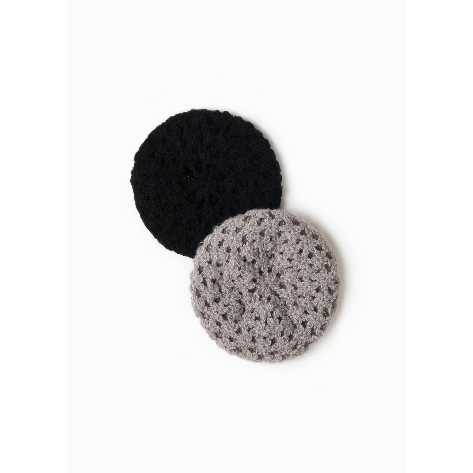 Floral Crochet Beret in Black