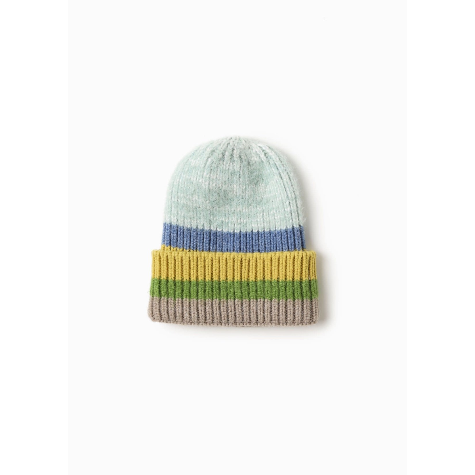 Cotton Candy Striped Beanie in Mint