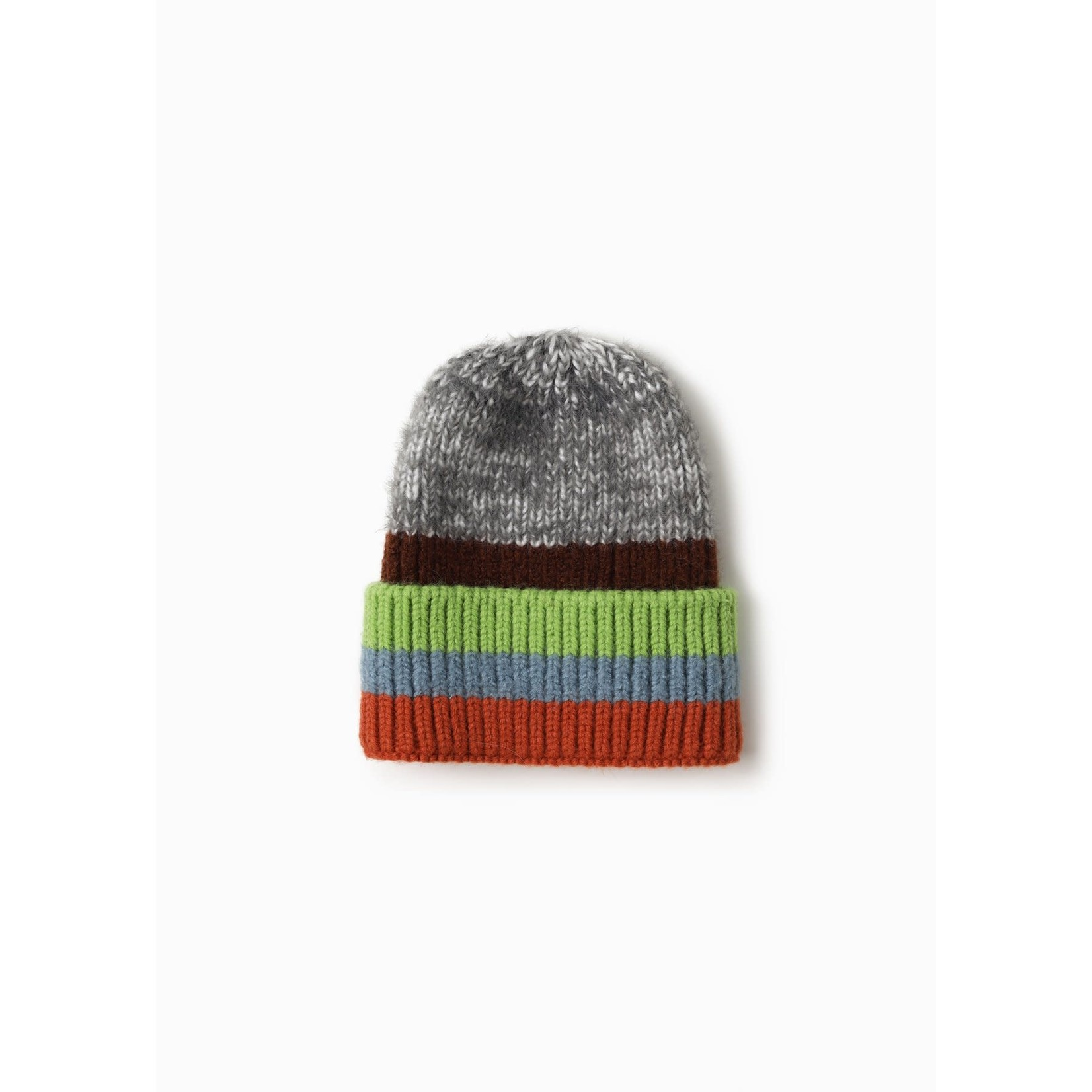 Cotton Candy Striped Beanie in Grey