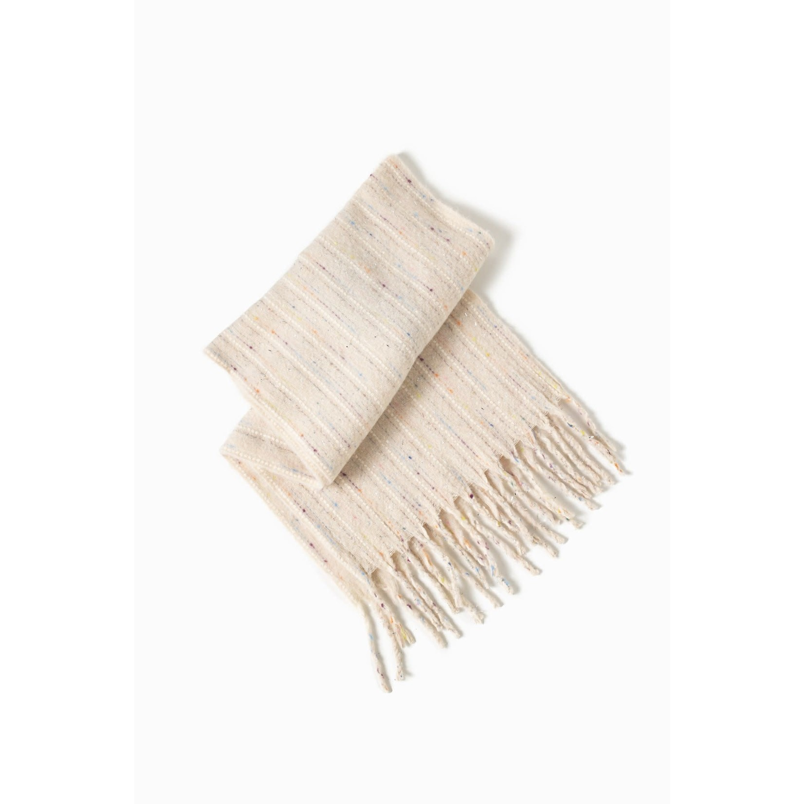 Brushed Confetti Grunge Scarf in Ivory