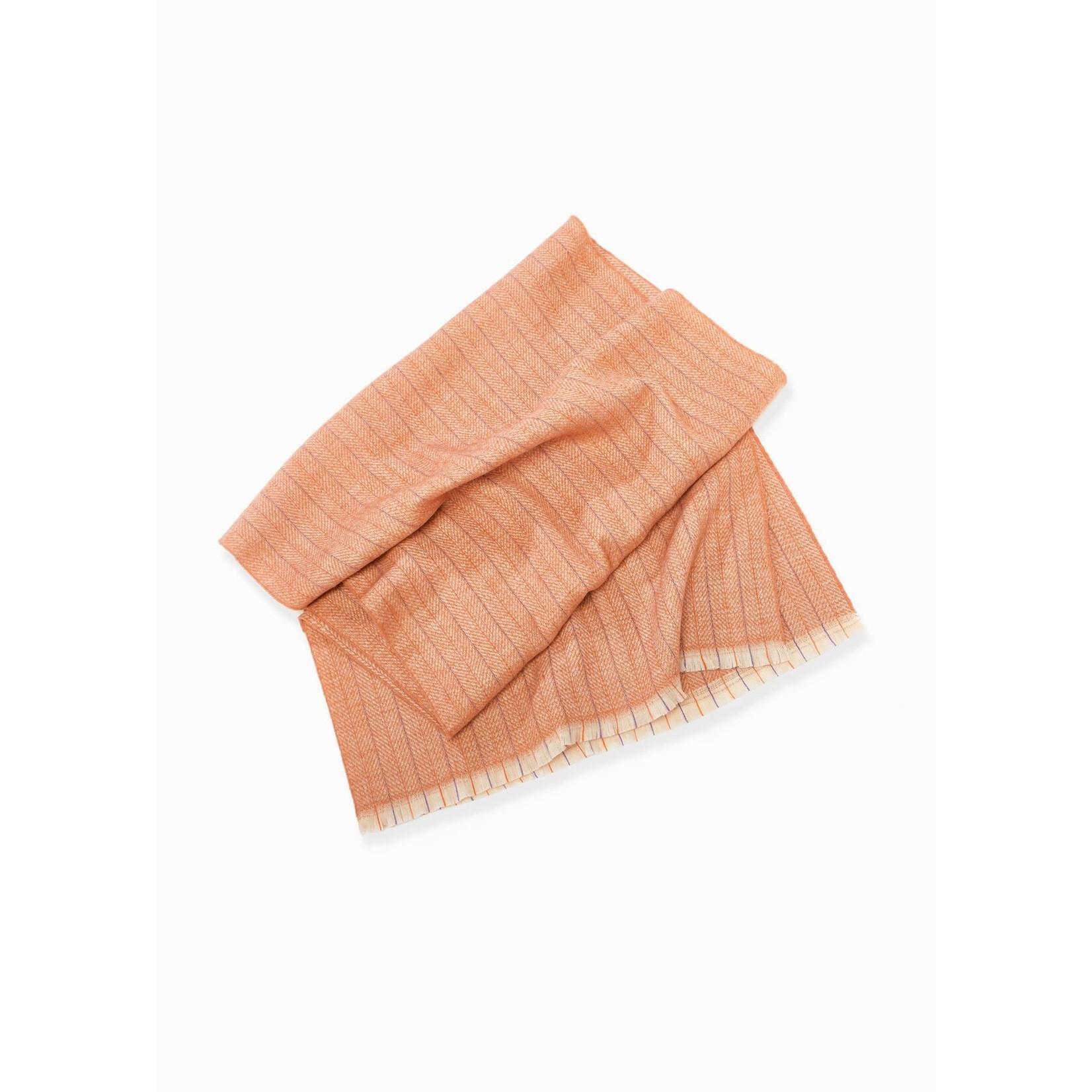 Herringbone Color Striped Scarf - Dusty Orange