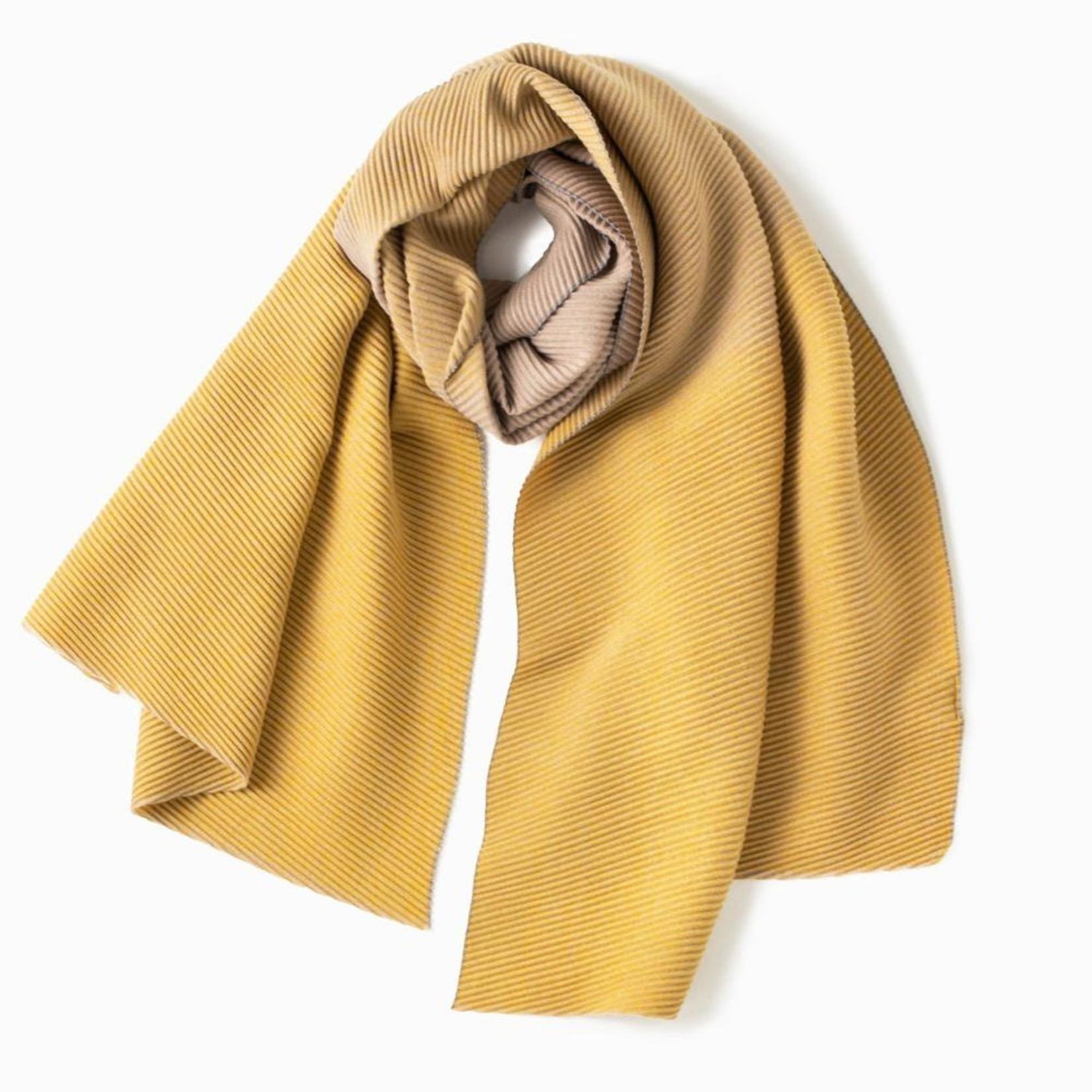 Look By M Gradient Pleats Scarf in Mustard