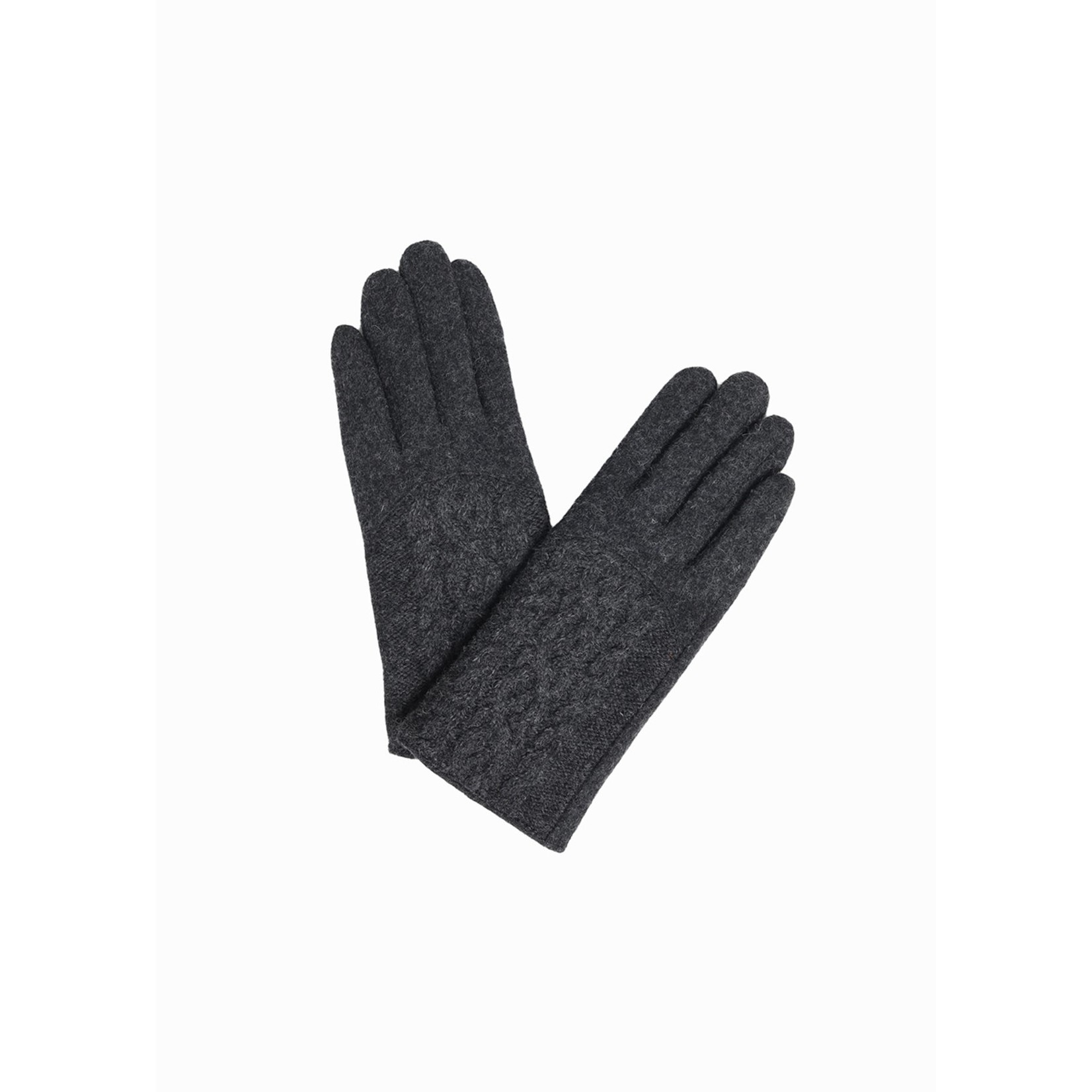 Half Cable Wool Gloves in Charcoal