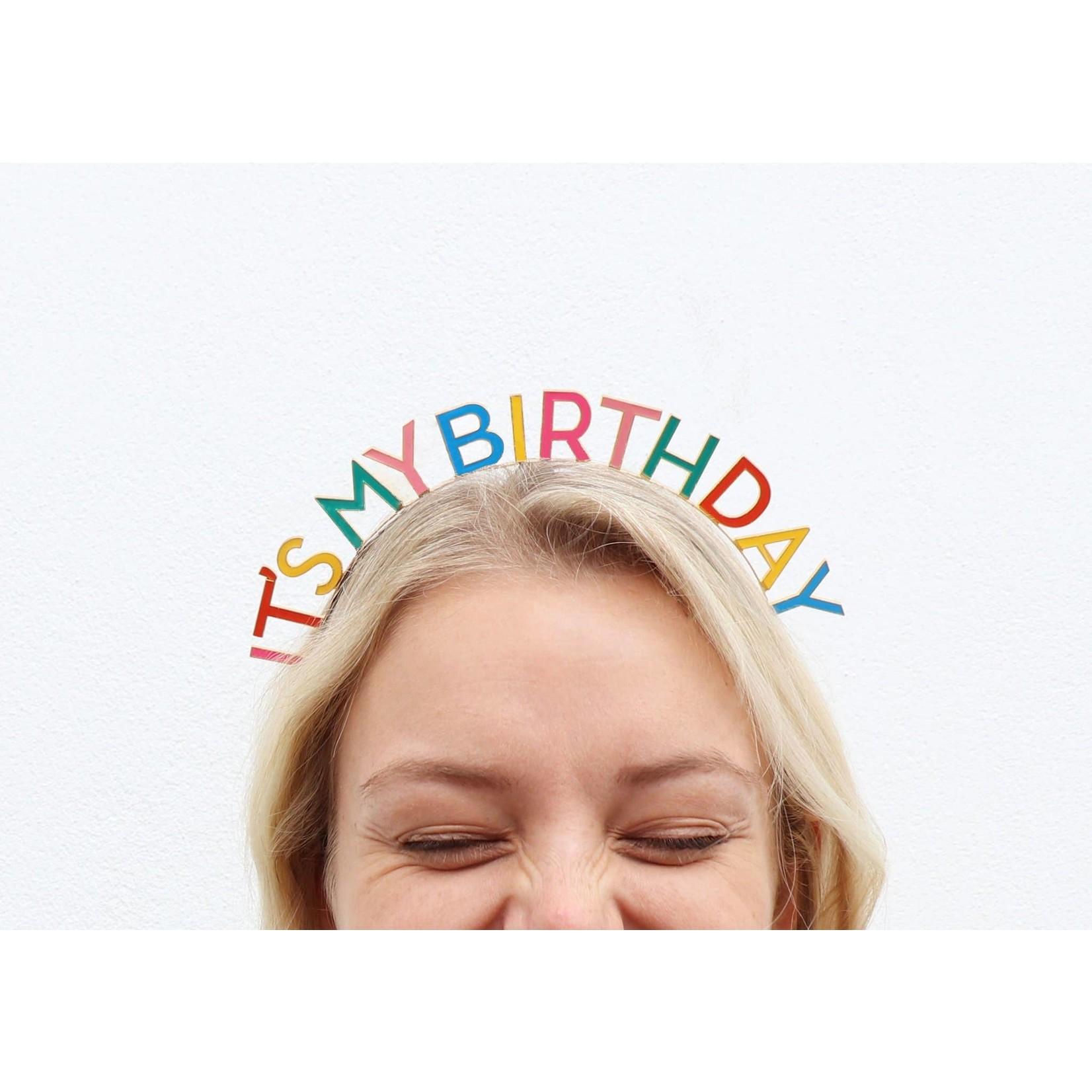 It's My Birthday Headband in Rainbow
