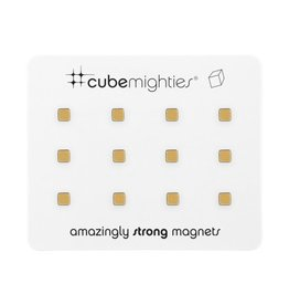 THREE BY THREE 12 Pack Cube Mighty Magnet GOLD