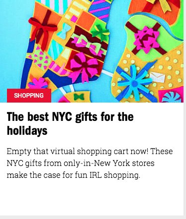 Exit9 in Time Out New York Best of NYC Gifts -- Gift Guide