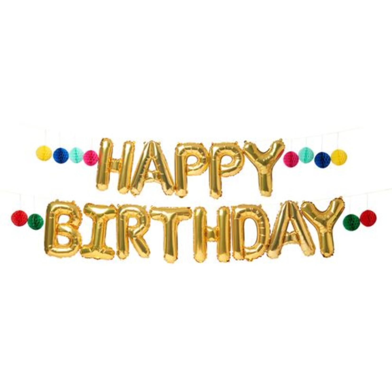 "True Fabrications Gold ""Happy Birthday"" Mylar Balloon"