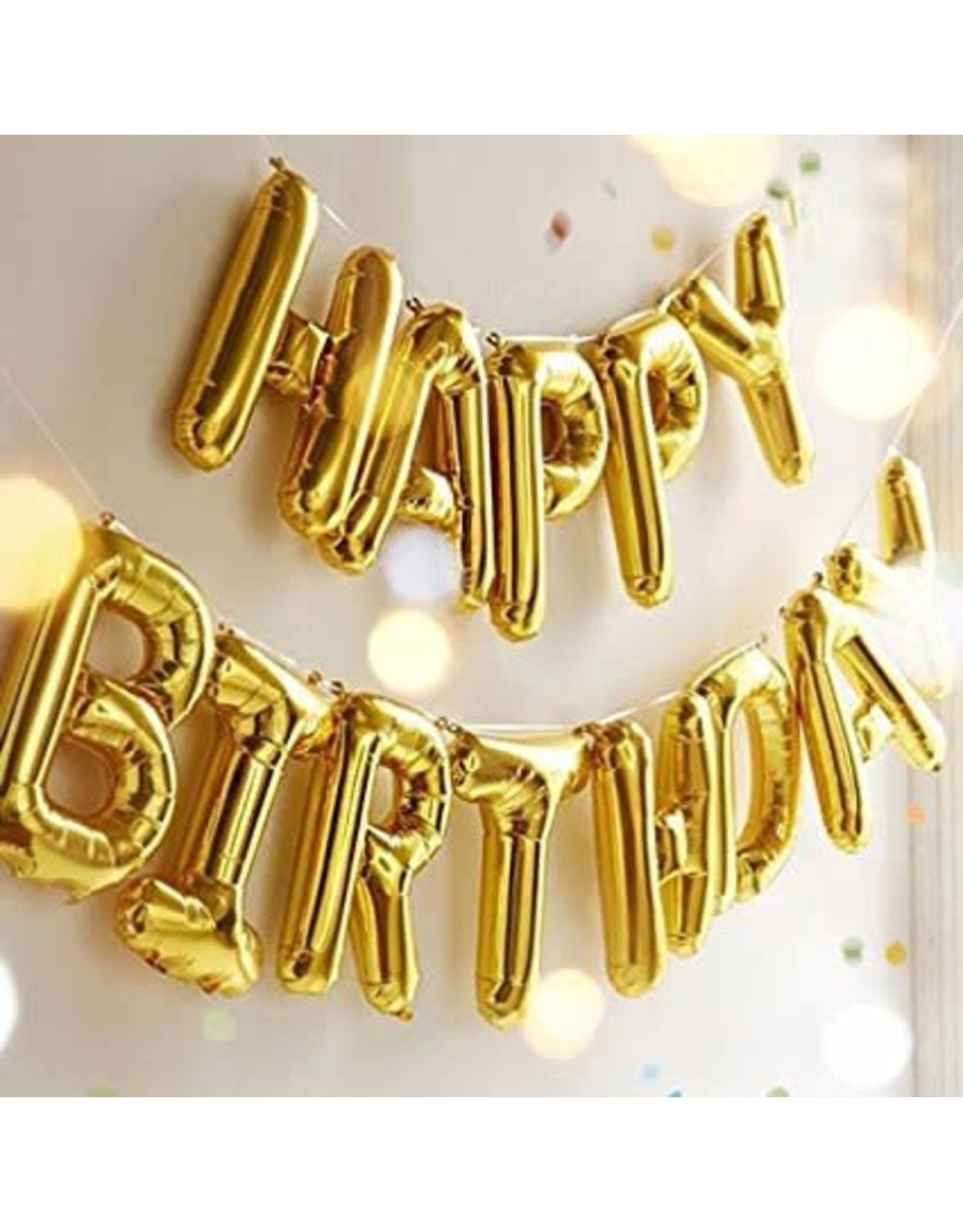 "True Fabrications Gold ""Happy Birthday"" Mylar Balloon"