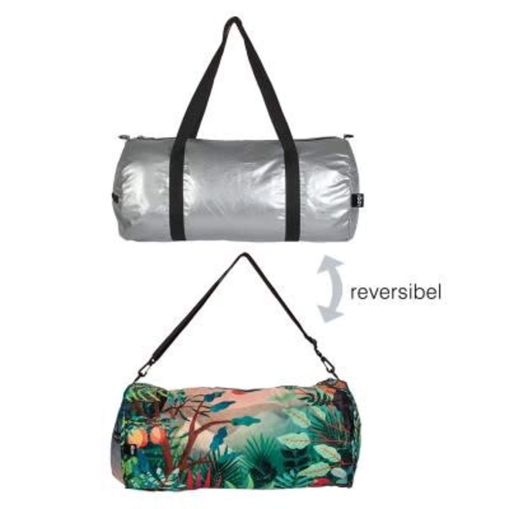 Loqi Reversible Weekender Bag Silver/Print