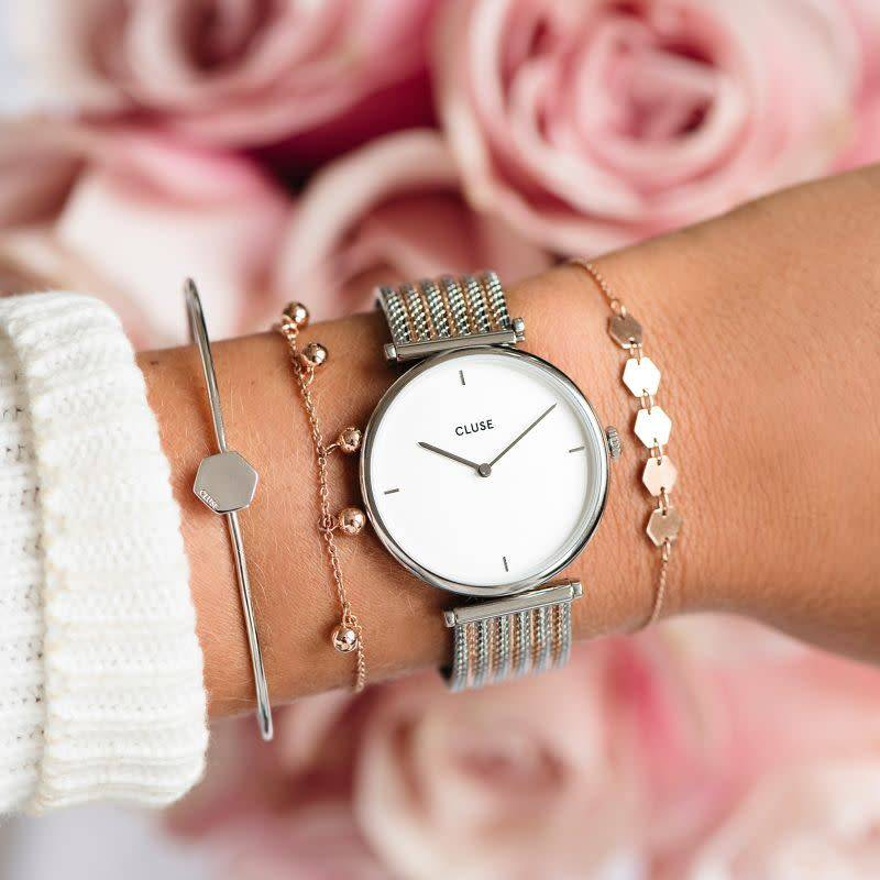 CLUSE Triomphe Silver/white - Rose gold