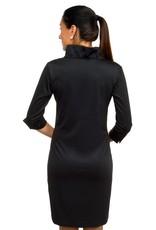 Gretchen Scott Ruffneck Dress Solid 3/4 Slv
