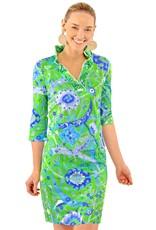 Gretchen Scott Ruffneck Jersey Dress 3/4 Slv