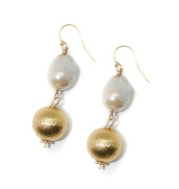 Hazen & Co. Dee Earring Baroque &Gold