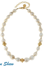 Susan Shaw Gold Bead Pearl Necklace
