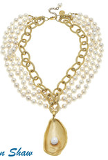 Susan Shaw Pearl & Oyster Necklace