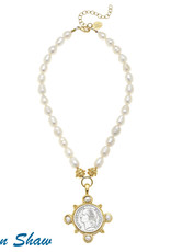 Susan Shaw Pearl & Coin Necklace