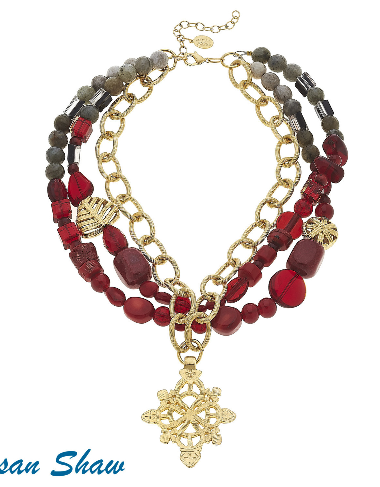 Susan Shaw Gold Cross & Beaded Necklace