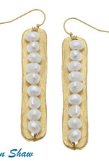 Susan Shaw Pearl  & Gold Bar Earring