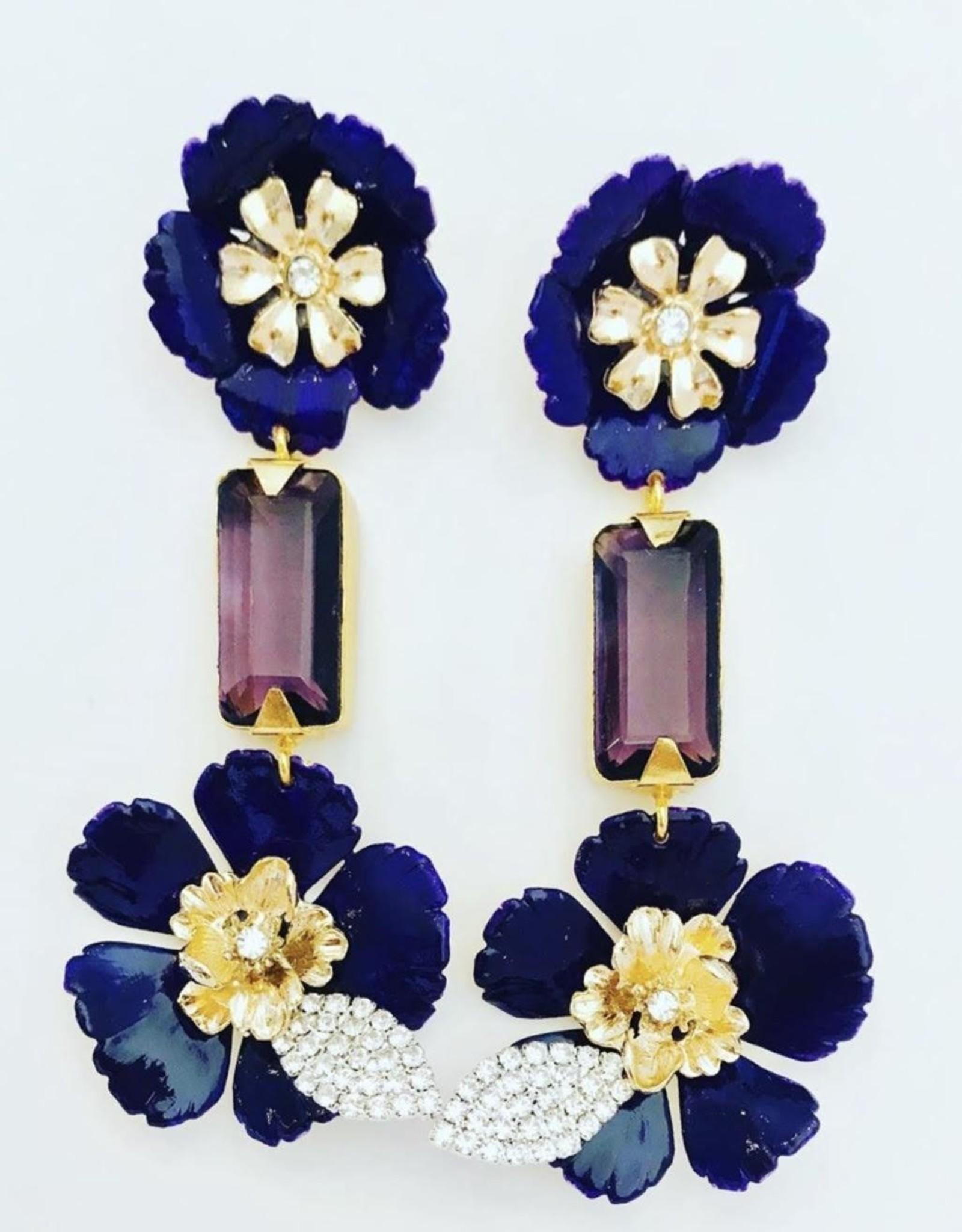 The Pink Reef Purple Flower & Crystal Drop