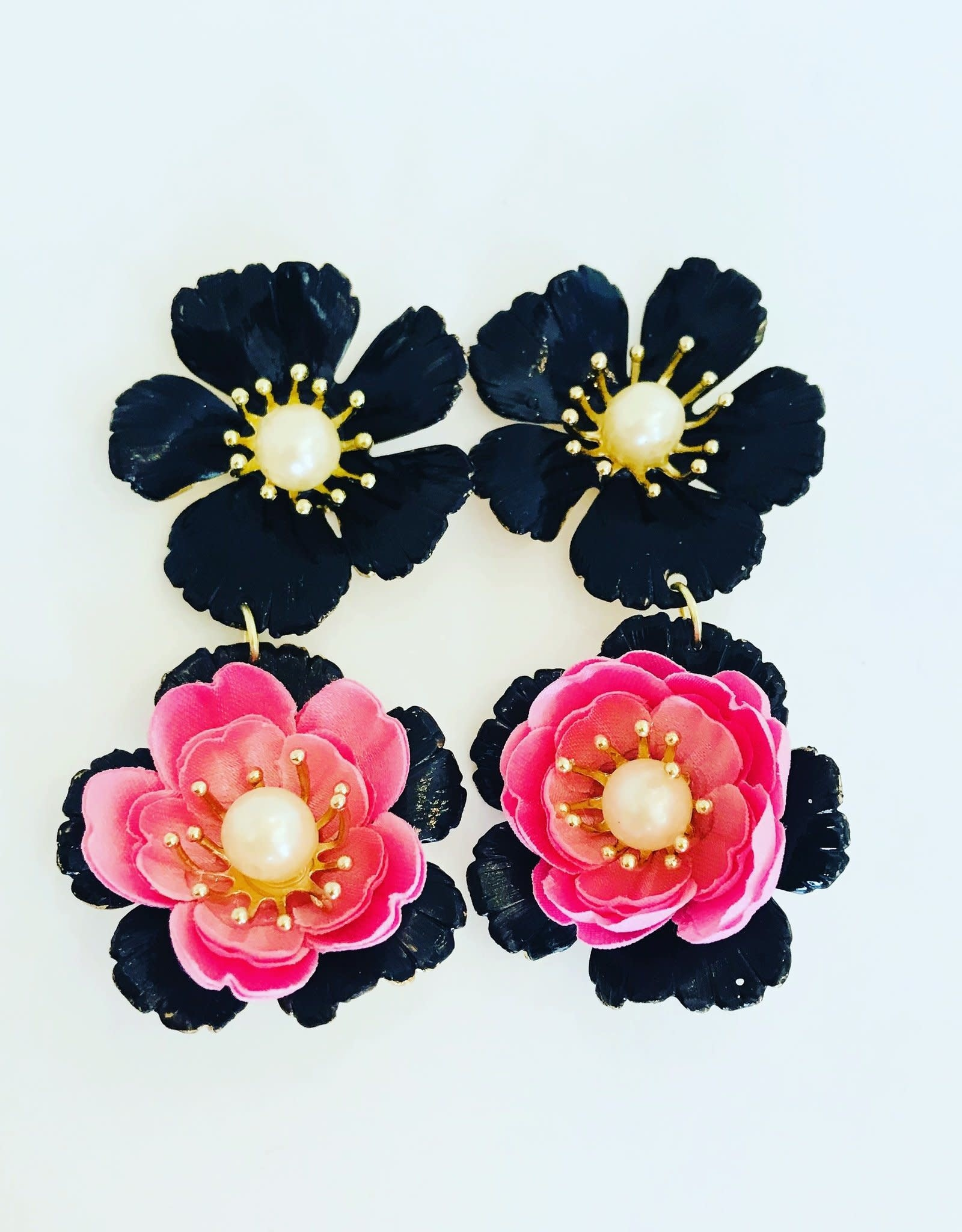 The Pink Reef Black & Pink Flower  Drop