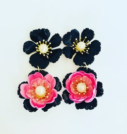 The Pink Reef Black & Pink Flower  Drop