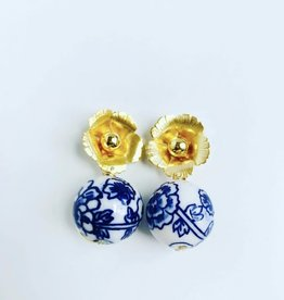 The Pink Reef Golden Flower & Chinoiserie Bead