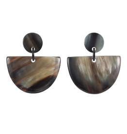 Vivo Buffalo Horn Half Moon Earring