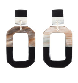Vivo Buffalo Horn Octagon Earring