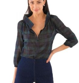 Gretchen Scott Plaid Peasant Blouse