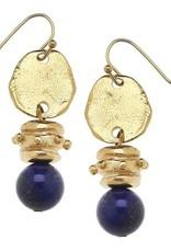 Susan Shaw Gold & Lapis Bead Earring