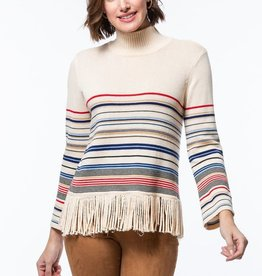 tyler boe Fringed Stripe Sweater