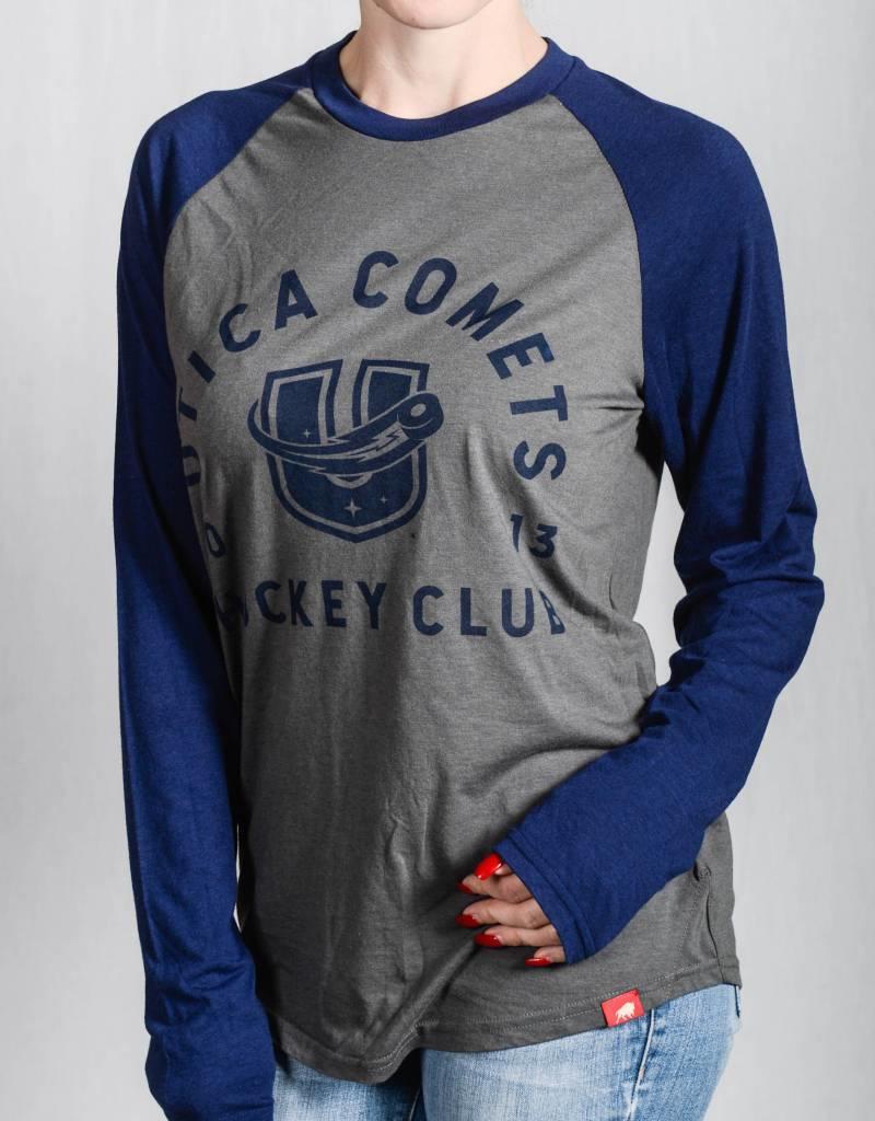 Sportiqe Frye Grey/Blue Long Sleeve T-Shirt w/ U Logo