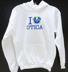 "Gildan Youth White ""I Love Utica"" Hoodie"