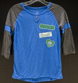 Colosseum Girl's Blue/Grey 3/4 T-Shirt w/ Comets Shield Logo