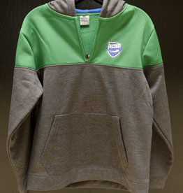 Colosseum Youth Grey/Green Hooded 1/4 Zip w/ Comets Shield Logo
