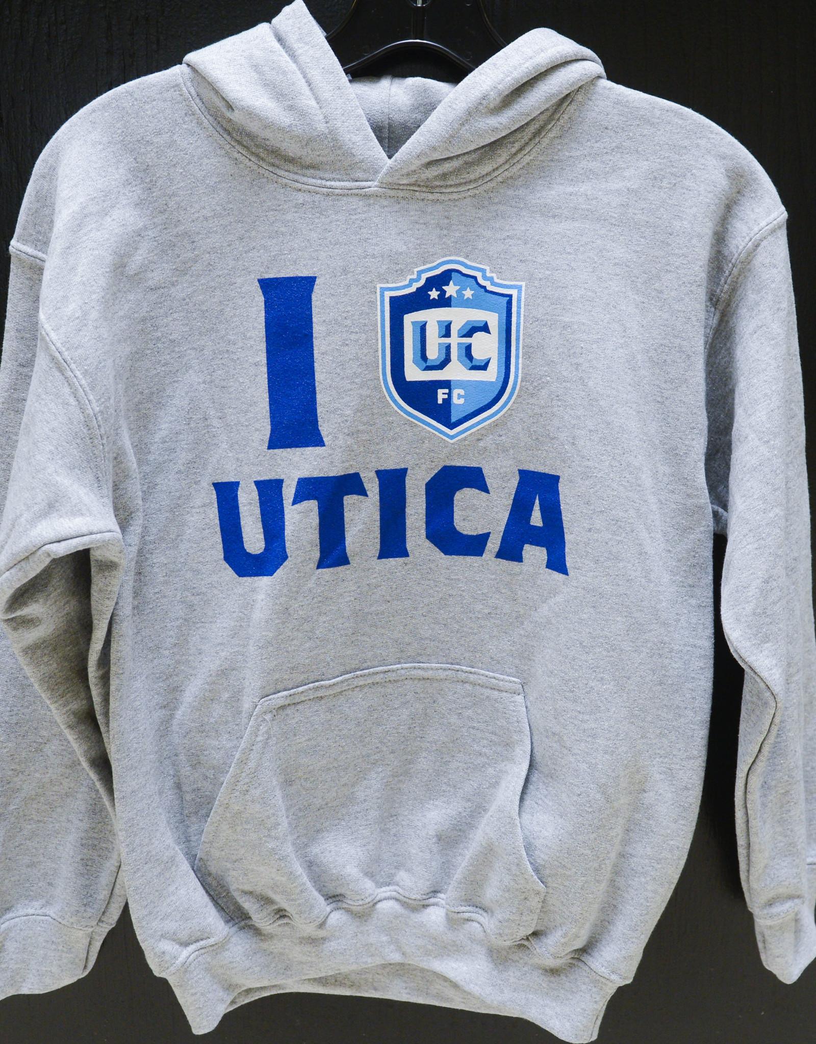 "Gildan Youth ""I Love Utica City"" Grey Hoodie"