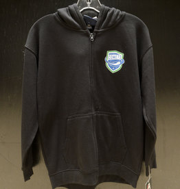 J. America Youth Black Fleece Full Zip Hoodie w/ Comets Shield Logo