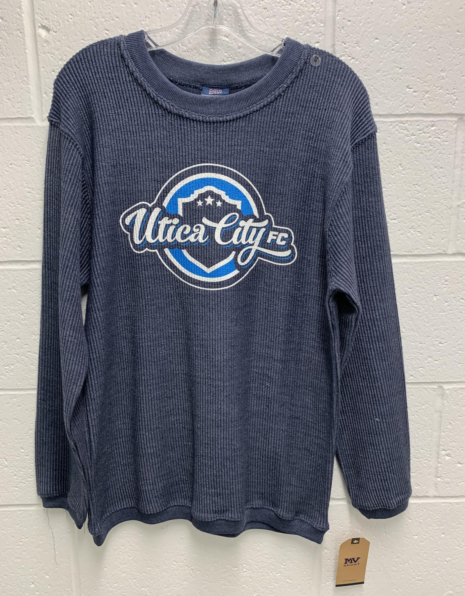 MV Sport Blue Corduroy Crew Neck Sweatshirt w/ Retro UCFC Logo