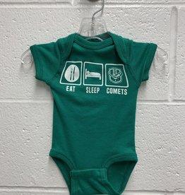 Eat, Sleep, Comets Green Onesie