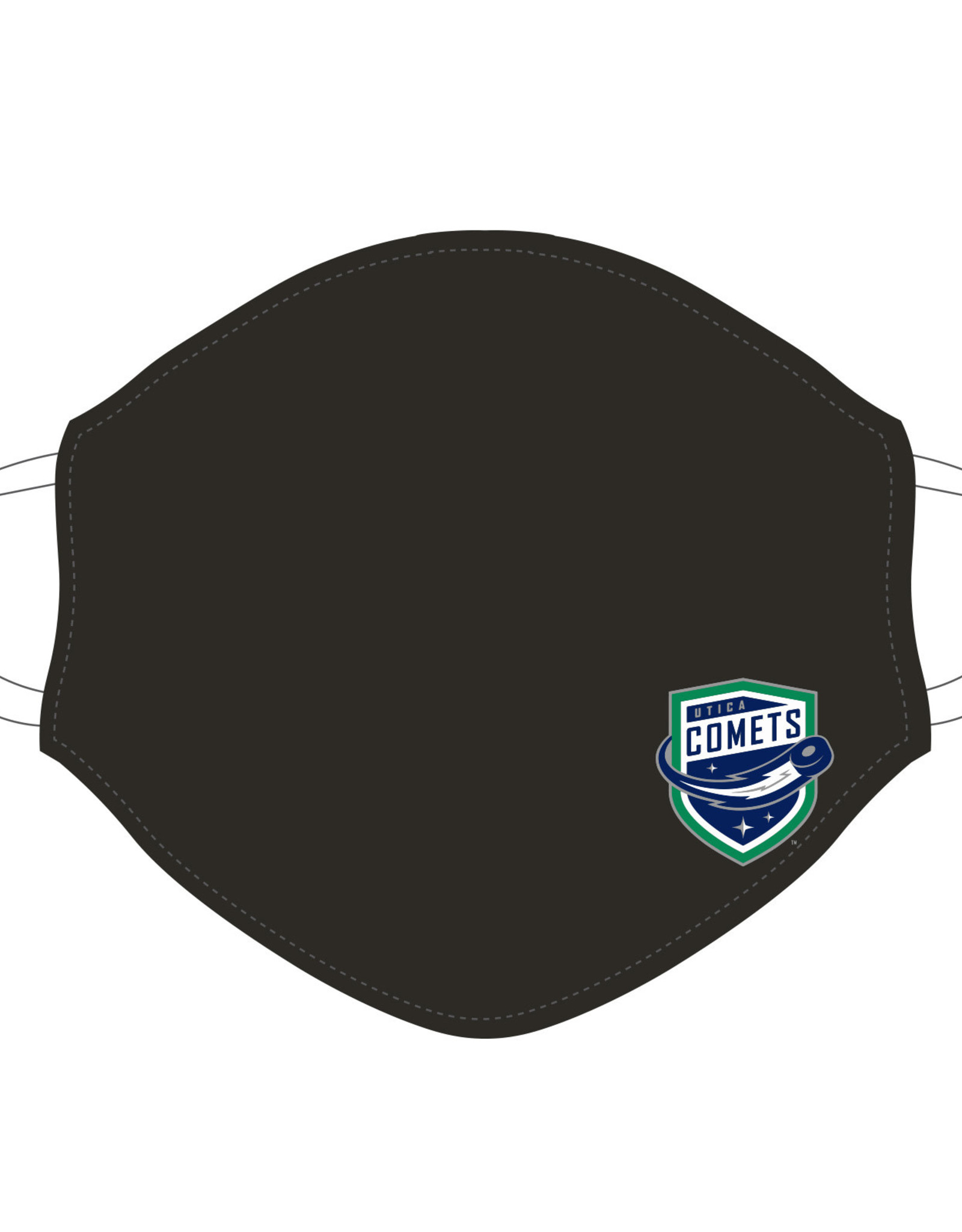 Utica Comets Face Covering (Black w/ Comets Logo)