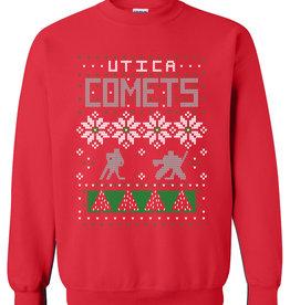 Utica Comets Ugly Sweater Crew Neck Sweatshirt - Red