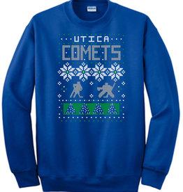 Utica Comets Ugly Sweater Crew Neck Sweatshirt - Royal Blue