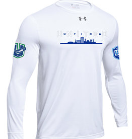 Utica 'United' White Loose Fit Under Armour Long Sleeve Shirt