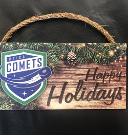 Utica Comets 'Seasons Greetings' Wood Sign